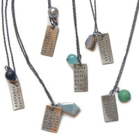 Beth North- Inscribed Rectangle & Stone Necklace