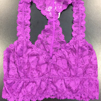Lace Bralette: Fuchsia/Purple