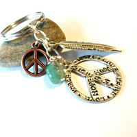 Peace Symbol Keychain, Feather Key Ring, Beaded Gemstone Key Chain, Hippie Gift, Stamped Keychain, Key Fob, Cool Car Accessory