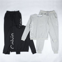 """Fashion """"Calvin Klein"""" Print Round neck Long-sleeves Pullover Tops Pants Two-Piece Set"""