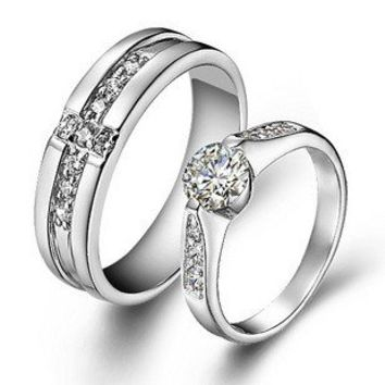 Cross 925 Sterling Silver High Grade Crystal Diamond Wedding Pair of Rings - Couple Wedding Rings - Couples Gift Ideas Rhinestones iPhone 5 4S 3GS Cases, Couple Necklaces / Wedding Rings & Uncommon Gift Ideas - Worldwide Shipping