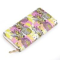 Pineapple Women's Zip Wallet in Vegan Leather with Gold Accents