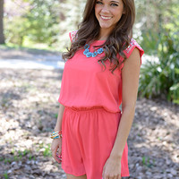 Queen Of The Nile Romper, Coral