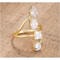 Bria Stunning CZ Goldtone Cocktail Ring   3ct   18k Gold