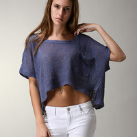 Cropped Indigo Knit Top