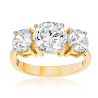 SusanB.Designs 4 Carat Simulated Diamond 3 Stone Ring Goldplated over Sterling Silver