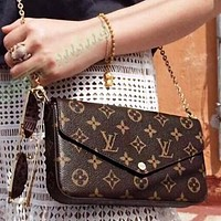 Hipgirls LV Louis Vuitton Vogue Women Shopping Bag Leather Handbag Tote Satchel Shoulder Bag Three-Piece