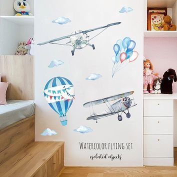 Airplane Balloon Wall Stickers Animal Nursery Baby
