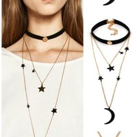 Night Sky Star and Moon Choker Necklace