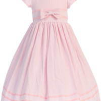 Pink Cotton Seersucker Spring Dress with Pink Ribbon Trim (Baby, Toddler & Little Girls Sizes)