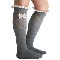 lace sexy long socks women knee socks rhombus bowknot over Knee thigh socks women gray socks calcetines altos mujer #587 SM6