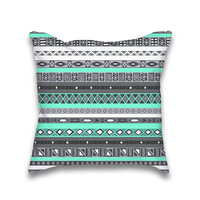 Mint Turquoise Aztec Boho Pattern Throw Pillow