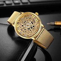 SOXY Luxury Skeleton Watches Men Watch Fashion Gold Watch Men Clock Men's Watch relogio masculino erkek kol saati montre homme