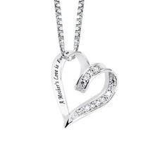 "Sterling Silver and Cubic Zirconia ""A Mother's Love Is Forever"" Heart Pendant Necklace, 18"""