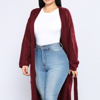 All I Need Is Pockets Cardigan - Burgundy