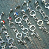 choose a cuff and gun belly ring hand cuffs revovler pistol fantasy boho gypsy beach country western cowgirl and hipster style