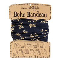 Boho Bandeau with Black & Cream Floral by Natural Life