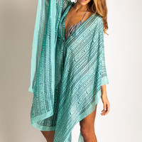 Lotta Poncho in aqua ikat: Soleilblue.com