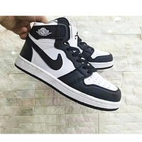 Nike Air Retro Jordan Black&White Women Men Contrast High Top Shoes B-A-HYSM