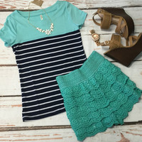 Color Blocked Striped Top: Navy