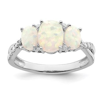 14k White Gold Created Opal and Real Diamond 3-stone Ring
