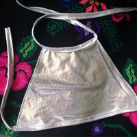 Silver Hologram Halter Top - One Size EDC rave wear holographic hard summer