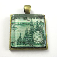 Postage Stamp Pendant of Forest, from Vintage, in Glass Tile Square