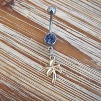 Belly Button Ring - Body Jewelry - Gold Palm Tree with Lt Purple Gem Stone Belly Button Ring