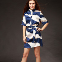 Blue Printed Funnel Collar Half Sleeve Belted Shift Mini Dress