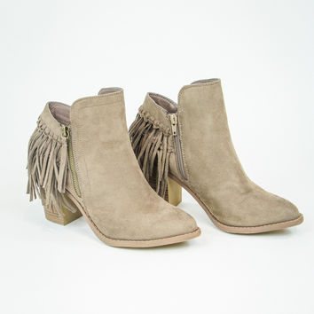 Back Fringe Bootie in Taupe