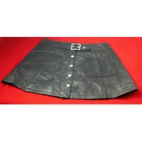 womans genuine leather skirt size medium button down front