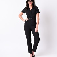 Collectif 1940s Style Black Short Sleeve Carrie Button Up Jumpsuit