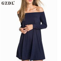 Women Sexy Off Shoulder Dress Pleated Flare Cocktail Long Sleeve Loose Party Casual Mini Dress Partido Vestido De Mulher CL2213