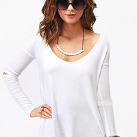 White Long Sleeve Cut-Out Elbow Long Back Top