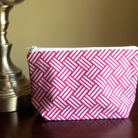 Make up cosmetic bag zipper pouch clutch  by BlueBearDesigns