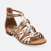 Viveca Rome Gold Leather - Womens Medium Width Shoes - Clarks