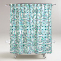 Turquoise Tile Shower Curtain