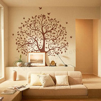 nature Decal Wall Stickers Vinyl Wall Decal life tree bird leaf birds living room bed room 319
