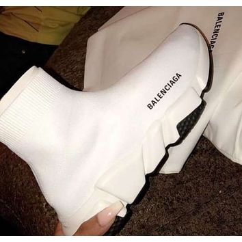 Balenciaga Sneakers Kint Socks Running Shoes Pure White