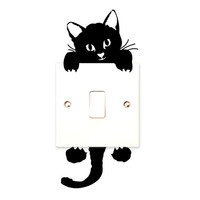 Funny Cute Cat Switch Stickers Wall Stickers Home Decoration Bedroom Parlor Decoration