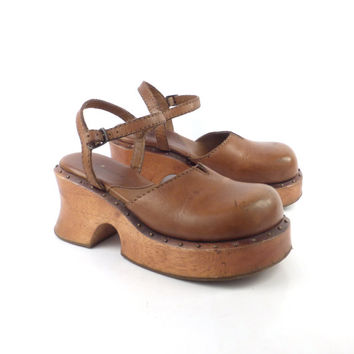 Platform Sandals Mary Jane Vintage 1990 Brown Leather Shoes High Heel Women's Size 6