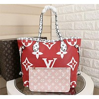 hcxx 1006 Louis Vuitton LV Neverfull Shopping Bag Daier Azur Canvas Handbag 32-29-17cm White Red
