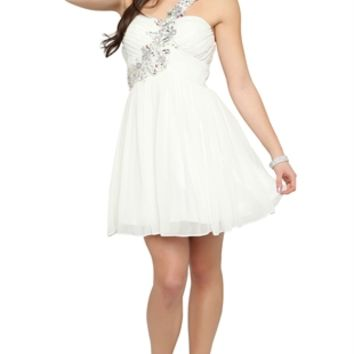 One Shoulder Dress with Stone Strap and Soft Carefree Skirt