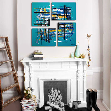 "Original 4 piece abstract painting. 26x26"". Unique geometric turquoise painting. Large painting. Canvas art. Blue painting."