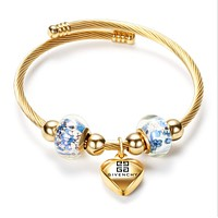 Givenchy New fashion letter love heart opening bracelet women