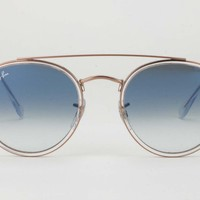 RayBan RB3647N 90683F A5 51-22 Round Rose Gold Blue Gradient Lens Sunglasses