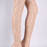 Anne Michelle Floral Lace Pointy Toe Stiletto Over-The-Knee Boots
