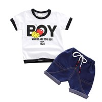 Trendy New 2018 top clothes for Boy Kids Baby Boy Clothing Set Casual T Shirts Top Denim Shorts Pants Toddler Boys 2PCS Summer Outfits AT_94_13