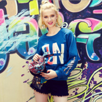 Fashion Embroidery Print Stitching Gradient Color Sweater