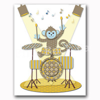 Neutral nursery art baby boy room wall decor kids artwork music decoration brown yellow drums poster children room print playroom poster